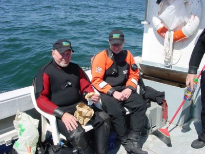 Divers Robert Guertin and Andy Olsson in between dives.